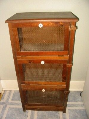 vtg wood vegetable bin mesh wire door country kitchen pie safe cabinet cupboard