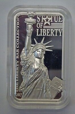 {BJSTAMPS}2017 Cook Islands Statue of Liberty PF Silver Bar $10 Coin .999 Silver