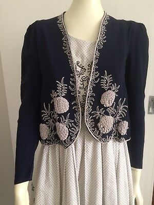 Original Vintage 30s 40s Embroidered  Crepe Bolero Jacket Top ,Deco Swing,Pinup