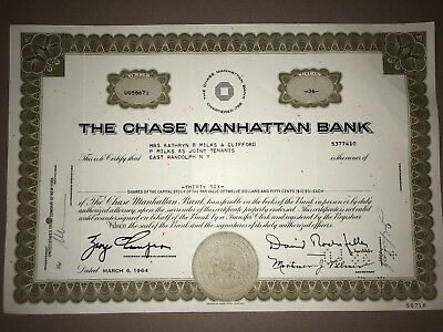 Chase Manhattan Bank original stock certificate fac signed by David Rockefeller