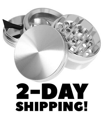 Titanium Grinder 4 Piece Magnetic Lid Spice /Tobacco/Herb Crusher - Silver