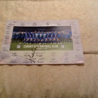Cardiff City Team Poster 2017/18 signed by Cardiff City Manager Neil Warnock