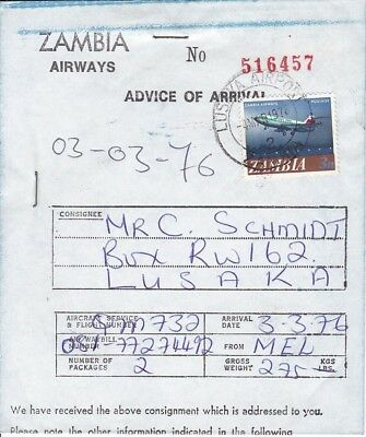 T43493 Sambia Zambia Airways Advice of Arrival 1976