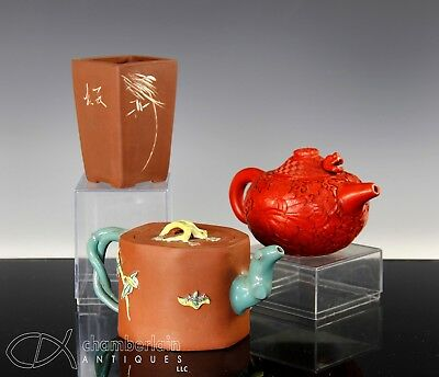 Lot Of Old Chinese Yixing Pottery Teapot Brush Pot Etc W Lacquer