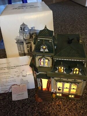 Retired Dept 56 Snow Village Halloween Haunted Mansion Green roof 54935