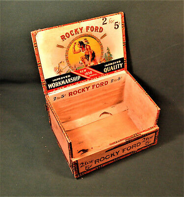 Vintage Antique Rocky Ford Cigar Box 1938 Double Decker 100 Cigars Box Only