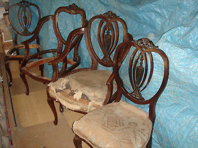 Edwardian Mahogany Part Drawing room suit 2 easy chairs and 2 Dining chairs