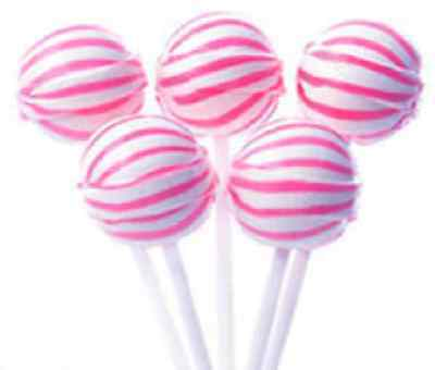 50 Pink & White Ball Pops Lollipops Candy Buffet Lollies Strawberry Flavour