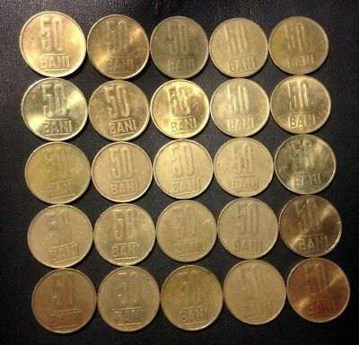 Old Romania Coin Lot - 50 BANI - 25 EXCELLENT Less Common Coins - Lot #F14