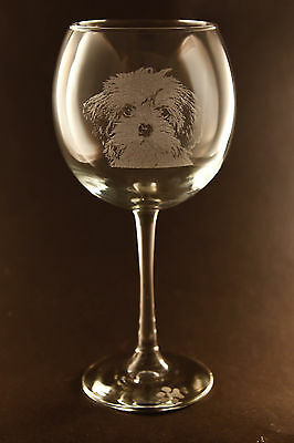 New! Etched Lhasa Apso on Large Elegant Wine Glasses - Set of 2
