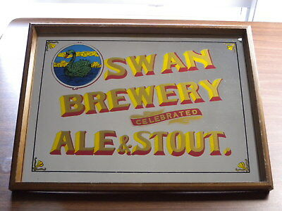 Vintage Swan Brewery Celebrated Ale & Stout Repro Mirror Pub Bar Man Cave