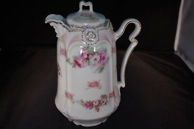 Porcelain Coffee/chocolate Pot, Soft Roses Pattern