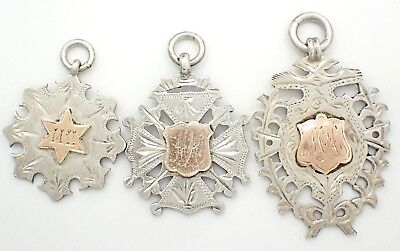 Early 1900's Sterling Silver Sports Fobs x3 - 1905, 1908