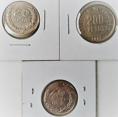 3 Coins Error 20 Cents And 200 Pesos Colombia Descentrateds  And Doubled Die