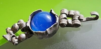 MEDIEVAL SILVER  BRACELET PART / TOP with BLUE AGATE STONE !!