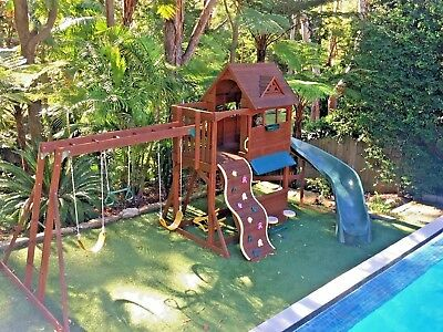 WOODEN OUTDOOR PLAY SET with FORT & Curved Slide