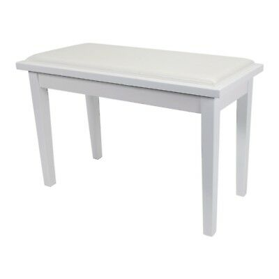 NEW Crown Deluxe Timber Trim Duet Piano Stool Bench Storage Compartment (White)