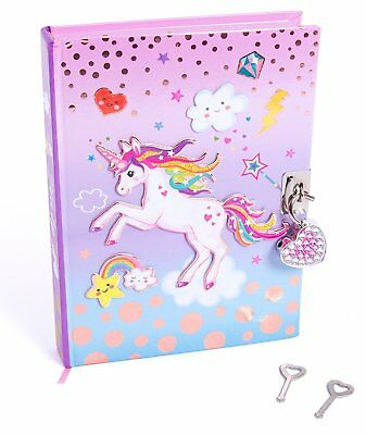 "Hot Focus 7"" Unicorn Secret Diary with Lock & Two Keys for Kids"
