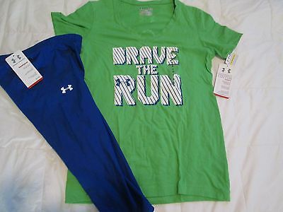 """NEW Womens UNDER ARMOUR 2pc OUTFIT CAPRI+Graphic T """"BRAVE THE RUN"""" FREE SHIPPING"""