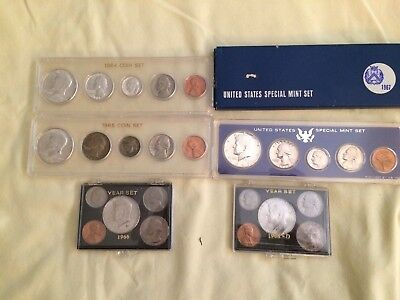 Lot of 5 United States Coin Sets 1964, 1965, 1966, 1967, and 1968