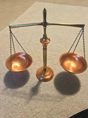 vintage amish PA copper balance scale of justice weights all metal Lancaster