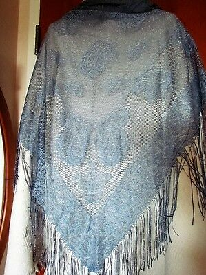 Black Blue Silver Metallic Knitted lace Mantilla Wrap Church Scarf Piano Shawl