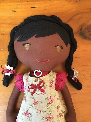 OOAK BROWN/BLACK CLOTH DOLLY - ALL HAND MADE - GREAT CONDITION 41cms or 16inchs