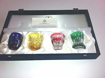 "NIB Signed Faberge  ""Na Zdorovye"" Multi- Color Vodka Shot Glasses Set"