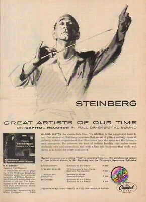 1955 William Steinberg Pittsburg Symphony Orchestra Capitol Records 50s Print Ad
