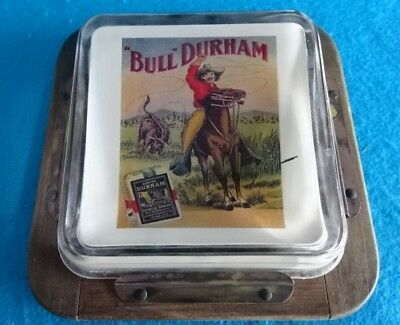 Old West Bull Durham cowboy & horse antique advertising change receiver tray