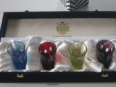 NIB Signed Faberge Multi-Color Bubble Crystal Shot Glasses Set of 4