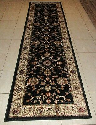 New Extra Long Black Persian Design Heatset Floor Hallway Runner Rug 80X500Cm