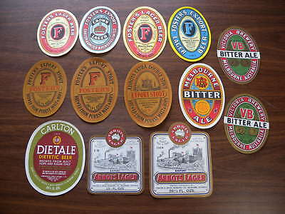 13 x Vintage Carlton & United Breweries Beer Labels Fosters Melbourne Abbots VB