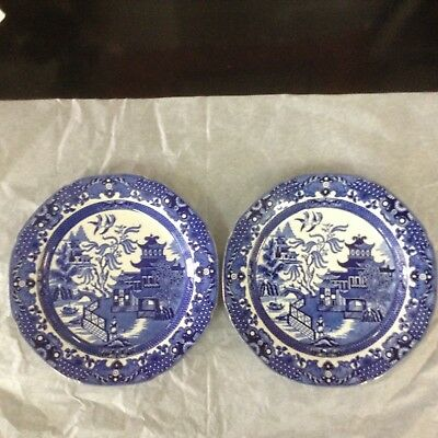 Burleigh ware willow patern 1930s 240mm dinner plates x 2