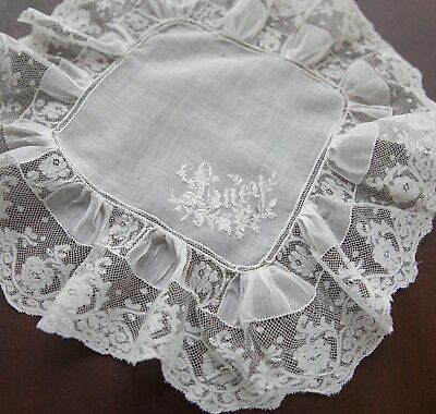 ca. 1880 Antique French Bridal Wedding Hanky Monogram Lucy w/ Valenciennes Lace