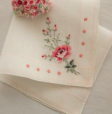 Vintage Burmel Fine Swiss Hanky Embroidered Rose Pink Bridal