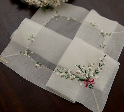 Vintage Fine Sheer Swiss Hanky Embroidered Bell Flowers Bridal Original Sticker