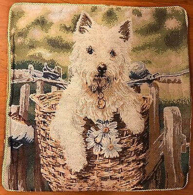 Jacquard woven (tapestry) Cushion / Pillow Cover with Westie on a Bike -New