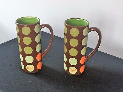 "Pair of 6"" Tall Food Network Latte  Cocoa Mugs Brown w/polka dots, green inside"