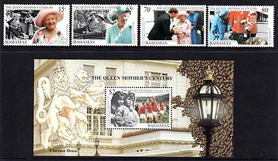 Bahamas 2000 Queen Mother 100th Birthday Set 4 + M/S MNH