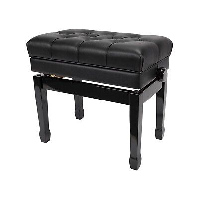 NEW Crown Premium Tufted Height Adjustable Piano Stool Storage Compartment Black