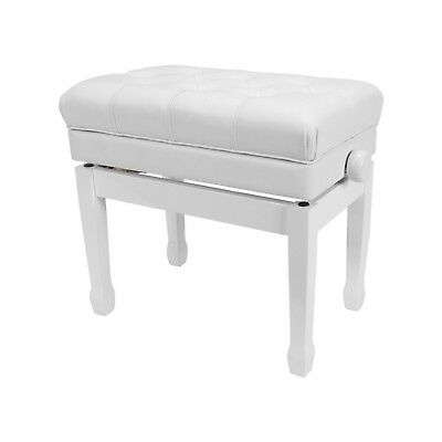 NEW Crown Premium Tufted Height Adjustable Piano Stool Storage Compartment White