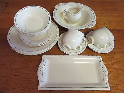 1930s 23 Piece Dinner Set for 4 in Cream + Gold Diana New Hall Hanley England