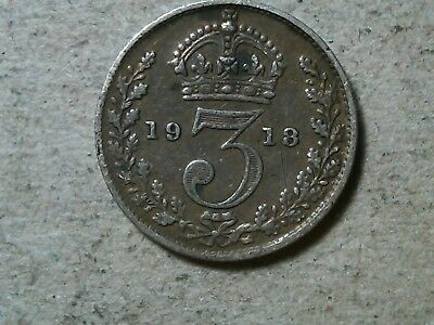 Great Britain 3 pence threepence 1918 George V silver WWI period coin
