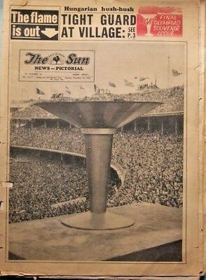 THE SUN NEWSPAPER- MELBOURNE, DEC 10th, 1954- FINAL OLYMPIC ISSUE