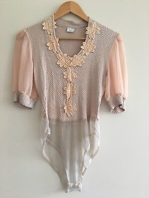 Vintage Blush French Bodysuit Puff Sleeve