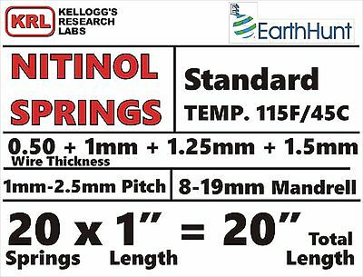 20 Spring in 4-Sizes NITINOL HELICAL SPRINGS Shape Memory Lab Pack 115f .5-1.5mm