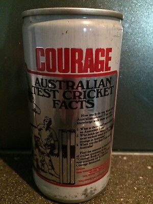 370Ml Courage Draught  Australian Test Cricket Test Facts Beer Can