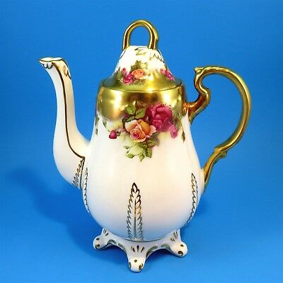 Ornate Heavy Gold Royal Chelsea Golden Rose Large Coffee Pot