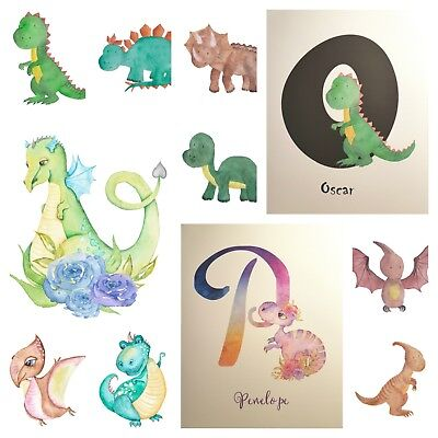 Dinosaur Nursery A4 poster Print picture unframed watercolour Dino Personalised